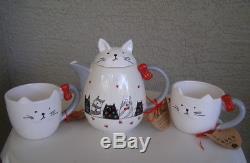 10 STRAWBERRY STREET Tea Pot Set Cups Tray Black Gray Cat Hearts. Magenta