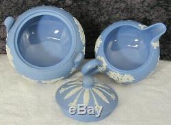 (13) Pc. Vintage Wedgwood Blue Jasper Ware Jasperware Tea Set Teapot +