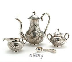1428 Gr Antique Chinese Export Silver Tea Pot Teapot Or Coffee Set By Zee Woo