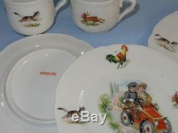 15 Pc Childs Childrens Germany Tea Pot Set Rooster Cats Dogs Kids Driving Auto