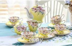 15 piece-set, delicate bone china coffee cup set, european vintage tea cup, tea