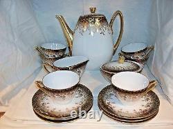 17 Piece Bavaria (62) Oscar Schaller & Co. Tea Set, Demitasse, Gold Trimmed