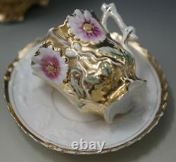 1800's VIENNA EGGSHELL PORCELAIN GOLD EMBOSSED FLOWERS CHOCOLATE POT CUPS SET