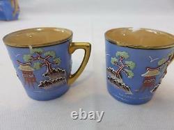 18pc Vintage JAPANESE Pretty Blue & Moriage TEA SET Pagoda Tree Birds POT CRUETS