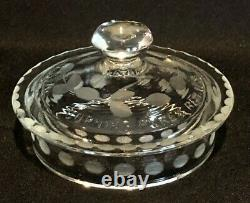 1920 PYREX CORNING TEAPOT 3pc Tea Pot Set with Tray in Clear Etched Glass CARDER