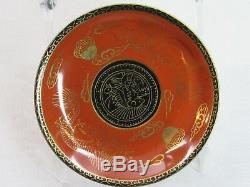 1920 Rare 14pc Nippon Tokusei Tea Set Porcelain Dragons Red Gold Black Teapot