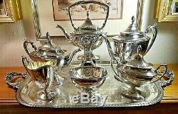 1930's Vtg. WALLACE 7-Pc LAUREL Silverplate COMPLETE SET Coffee/Teapot N6712 EUC