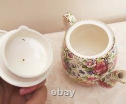 1950s Royal Winton 6pc Breakfast Set SUMMERTIME Chintz Teapot Toast Tray