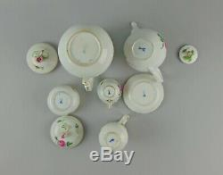 19pc Antique Meissen Pink Rose Demitasse/Coffee Set for 6 With Teapot