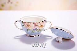 21 Pieces Vintage English Style Set Bone China Tea Kettle Teapot & Saucers