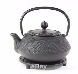 24 fl oz Black Small Hobnail Japanese Cast Iron Teapot Tetsubin Infuser Tea Set