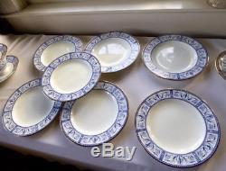 25 pc WEDGWOOD GRECIAN BLUE CHINA TEA SET TEAPOT CREAMER SUGAR FOOTED C/S PLATES