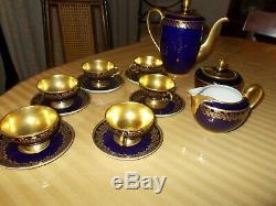 27 PC JOHANN HAVILAND TEA SET VINTAGE BAVARIA PORCELAIN With BLUE COBALT & GOLD
