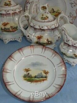 29 Piece Antique Luster Ware Continental Germany HP Landscape Teapot Desert Set