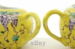 3 Pc Chinese Famille Rose Jaune Porcelain DAYAZHAI Style Tea Teapot Set Mk