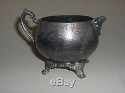 3 Piece Antique Silverplate Oneida USA Tea Set Tea Pot Creamer Sugar (4D)