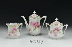 3 Piece RS Prussia Porcelain Tea Set Teapot Creamer Sugar