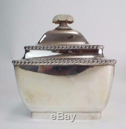 3 Piece Tea Set Service Teapot Jug Sugar Box Art Deco Bauhaus Silver 900 c1932