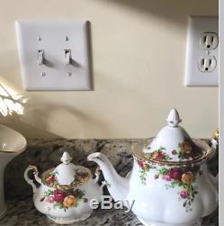3 Piece Vintage Teapot Set Antique Floral English Tea Service Coffee Roses China