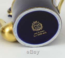 3pc Limoges France Singer Cobalt Blue Gilt Tea Set. Teapot, creamer & sugar Bowl