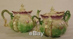 3pc Tea Set German RS PRUSSIA Mold 505 Purple Green Teapot Cream Sugar Flowers