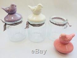 3x Bird Tea Sugar Coffee Sweet Glass Storage Jar Pot Container Canister Kitchen