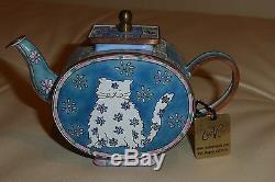 4 C. Maddicott Miniature Enamel Hand Painted Limited Edition Teapots