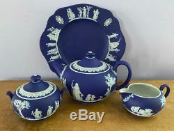 4 Pcs Antique Wedgwood Cobalt Blue Dip Jasperware Tea Set Teapot Incl 1903 Plate