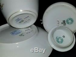 4 pc porcelain set, Haviland, Limoges, France, teapot, cup saucer, butterfly