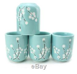 5 PC Japanese Ceramic Tetsubin Teapot & 4 Teacups Infuser Rattan Handle Tea Set