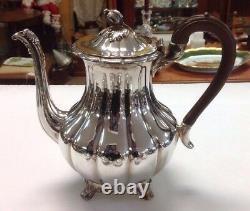 5 Piece Set Community Plate Old English Melon 2 Teapots/Coffeepots Creamer Sugar