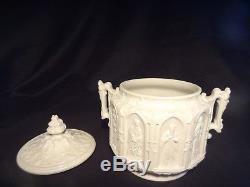 5 pc Antique English Gothic StonewareTea Set Teapot Sugar Creamer Charles Meigh