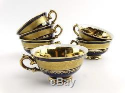 6 pc KPM Royal Berlin Porcelain Tea Set Flowers Cobalt Teapot Cups Saucers MINT