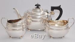 797g 3 Piece Sterling Silver Tea Set Tea Pot, Creamer & Sugar Chester 1928