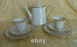 7 Pcs Lenox Eternal Dimension Collection Tea Set Teapot, Plates, Cups & Sauces