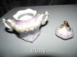 8 Pc Set Musical Teapot Plays Fluer De Lis Floral Design with Purple/Gold