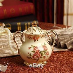 8 Pcs Rose Pattern Porcelain Tea Coffee Set Teapot Sugar Bowl Creamer Cups Tray