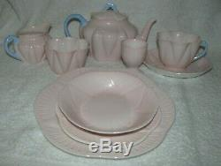 9 Piece Shelley Dainty Pastel Pink with Blue Handle Tea Set Teapot 13618 RARE