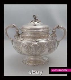 ANTIQUE 1880s FRENCH STERLING SILVER TEA POT SUGAR BOWL CREAMER SET 3pc Armorial