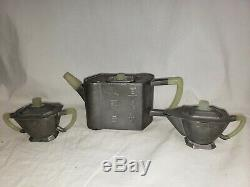 ANTIQUE Chinese Yixing Pewter and Jade Handle Teapot Tea Set Sugar Creamer