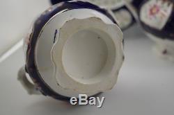 ANTIQUE GAUDY WELSH FLORET PATTERN TEA SET WITH 2 PLATES 5 PC TEAPOT c. 1830