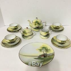 ANTIQUE Noritake 20s Childs Tea Set 18 Pc Teapot Sugar Creamer Hand Painted EUC