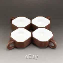 A Set Chinese Yixing Zisha Clay Teapot & Cups w Xu Han Tang (1932-)