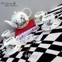 Alice in Wonderland Mad Hatter Tea Party Fine Bone China Teapot & Teacups