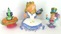 Alice in Wonderland Teapot Set Mad Hatter Creamer Caterpillar Sugar Disney Rare