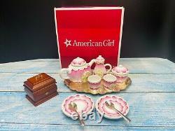 American Girl Felicity China Tea Set Teapot Creamer Sugar Cup Spoons Tray in Box