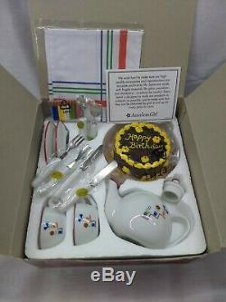 American Girl Retired Molly's Birthday Set NIB- Cake, Teacups, Teapot, etc