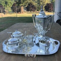 Ancestral Rogers Bros Silver Plated Serving Set Coffee Tea Teapot Dispenser 1847