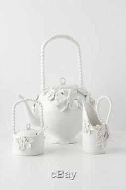 Anthropologie Climbing Prim rose Floral Teapot Flowers Tea Pot Home Shabby Decor