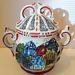Anthropologie Tea Service Set Teapot Creamer & Sugar Bowl in Blue Ivory Floral